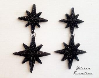 Double Night Starlite - Starburst Earrings - Retro Star Jewelry - Stars - Motel Starlite - 1950's - Mid-Century Modern - Glitter Paradise®
