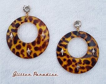 Atomic Hoops Leopard - Earrings - Retro Hoops & Domes - Leopard Hoops - Pinup Hoops - Hoops Earrings - Wild Retro Hoops - Glitter Paradise®