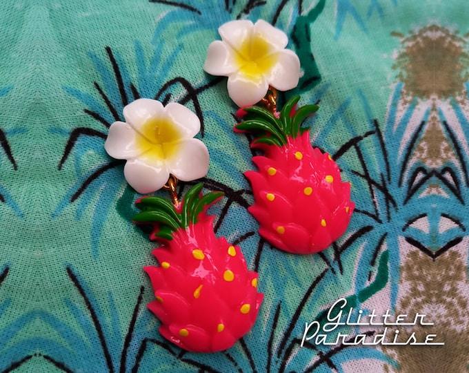 Hawaiian Dragon Fruit - Earrings - Pitahaya Earrings - Vintage Exotica - Tutti Frutti - Tropical - Dragon Fruit Jewelry - Glitter Paradise®