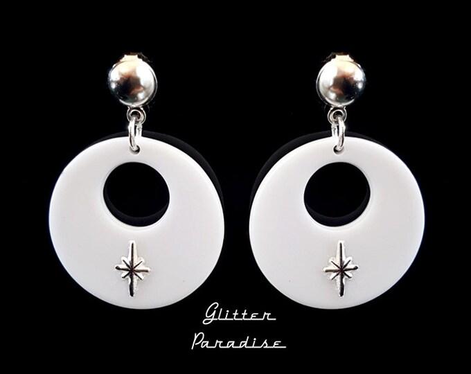 Baby Atomic Hoops White - Earrings - Starlite - Mid-Century Modern Star - Starlite Motel - Retro Star Earrings - Fifties - Glitter Paradise®