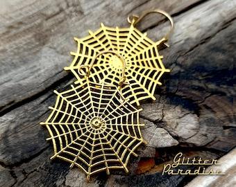 Spider Web Hoops - Earrings - Retro Halloween - Gothic Chic Earrings - Spider Earrings - 1950s Halloween - Ghoul Jewelry - Glitter Paradise®