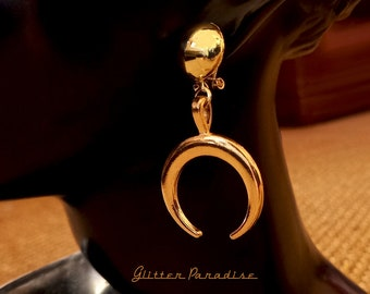 Moon Priestess Gold - Earrings - Moon & Domes - Witch Hoops - Crescent Moon Jewelry - Fetish Moon - Wicca Jewelry - Moon - Glitter Paradise®