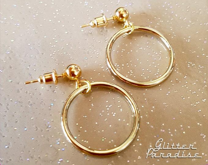 Baby Marilyn Hoops Gold - Earrings - Hoops & Domes - Barbie Hoops - Retro Hoops Earrings - 1950's Retro Hoops Earrings - Glitter Paradise®