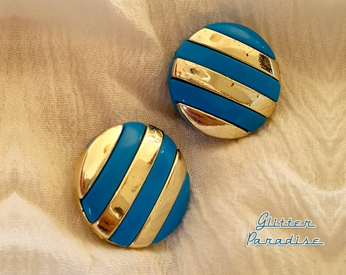 Original Vintage 80s Stripes - Earrings - 1980s Jewelry - Authentic Vintage Jewelry - Vintage 1980 Jewelry - 80s Jewelry - Glitter Paradise®