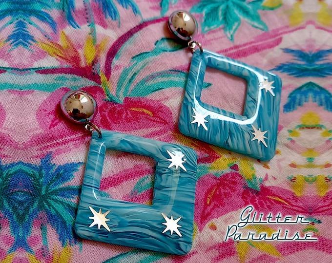 White Sand Beach Starlite - Earrings - Mid-Century Modern - Starlite Motel - 50s Retro Hoops Earrings - Vintage Inspired - Glitter Paradise®