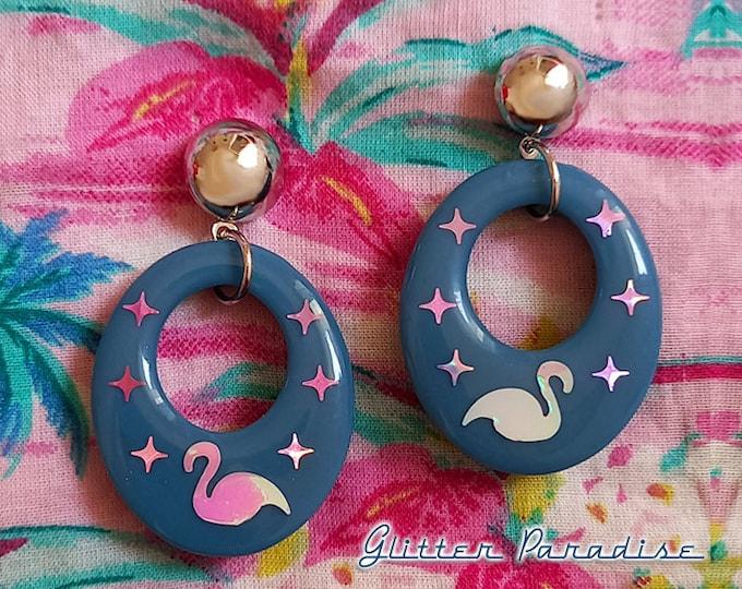 Palm Spring Mingos - Earrings - Mid-Century Modern - Flamingo Earrings - Retro Hoops Earrings - Vintage Inspired - Stars - Glitter Paradise®
