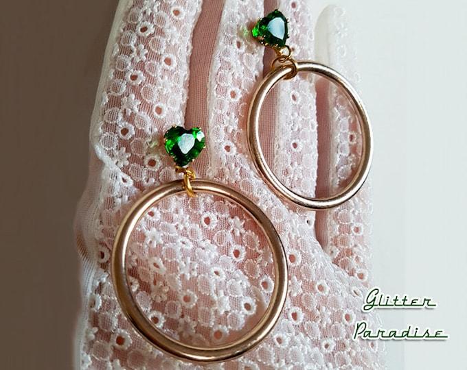 Retro Hoops Gold & Hearts - Earrings -  Barbie Hoops - Pinup Hoops - Hoops Earrings - Gold Hoops - 50s - Retro Jewelry - Glitter Paradise®