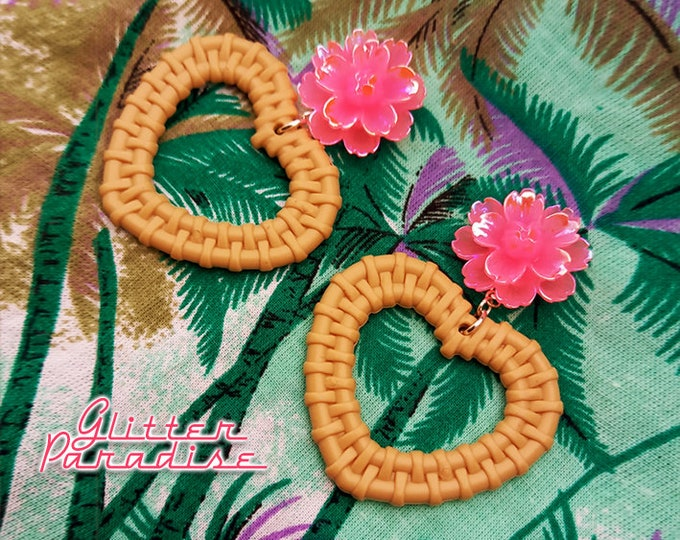 Rattan Love Peony - Earrings - Rattan Raffia Jewelry - Pink Flower Earrings - Peony Jewelry - Retro - Rattan Jewelry - Glitter Paradise®