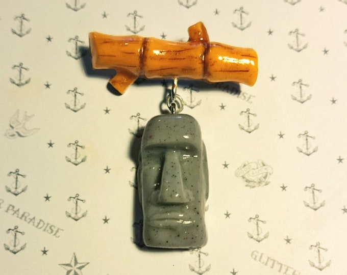 Moai & Bamboo - Brooch - Tiki Brooch - Aloha - Moai - Easter Island - Bamboo - Totem - Tiki Jewelry - Tropical - Wahine - Glitter Paradise®
