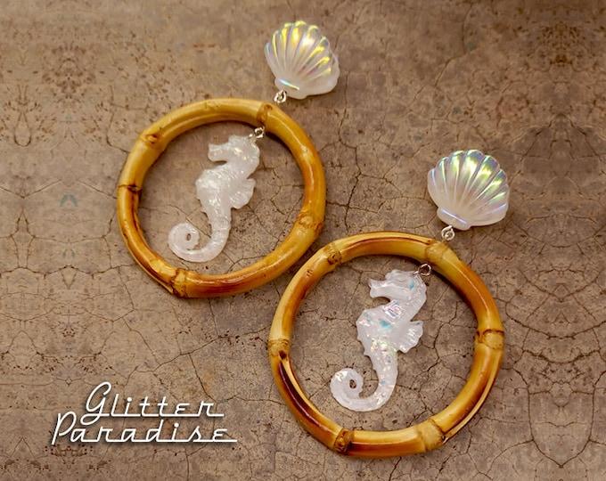 Bamboo Hoops Seychelles - Earrings - Bamboo Root  Vintage Exotica - Mermaid Jewelry - Bamboo Earrings - Tropical Jewelry - Glitter Paradise®
