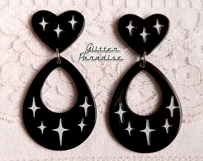 Atomic Love Drops - Earrings - Mid-Century Modern - Retro Valentines - 50s Retro Love Hoops Earrings - Vintage Inspired - Glitter Paradise®