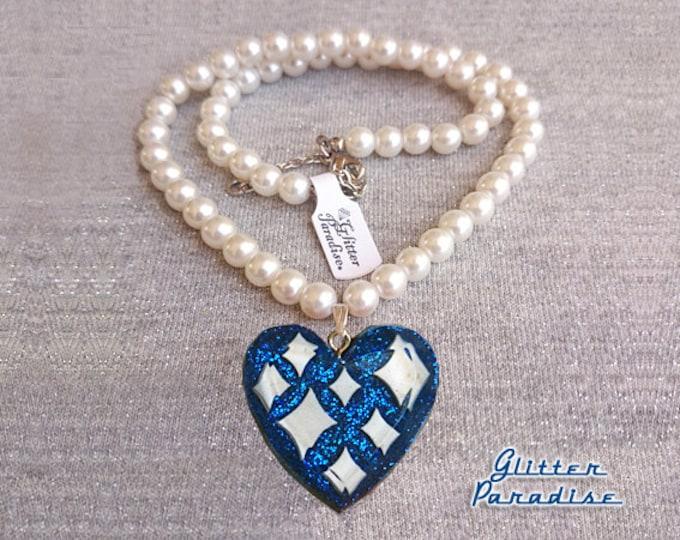 Lucite Sparkles Heart Blue & White Pearls - Necklace - Confetti Lucite - Retro - Mid-Century Modern - Heart Necklace - Glitter Paradise®