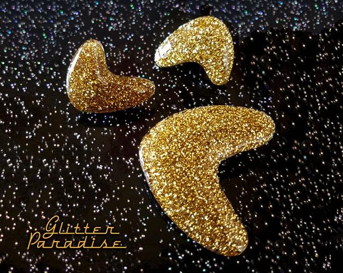 Atomic Boomerang Lucite - Set - Retro Boomerang Jewelry Set - Mid-Century Modern - 50s - Vintage Inspired - Retro Style - Glitter Paradise®