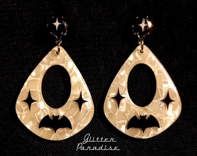 Mother of Pearl Atomic Bat - Earrings - Retro Halloween Jewelry - Bats Earrings - Vintage Halloween - Ghoul Earrrings - Glitter Paradise®