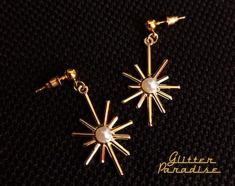Star Burst & Pearl - Earrings - Star - Vintage Inspired - Mid-Century Jewelry - Starburst - Franciscan - Sunlight - Sun - Glitter Paradise®