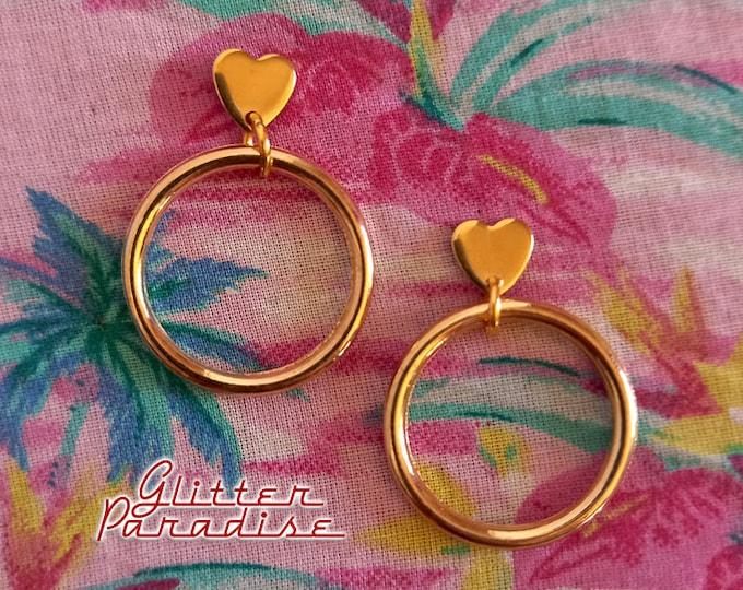 Baby Love Hoops - Earrings - Hoops & Domes - Heart Love Hoops - Valentines Hoops Earrings - 1950's Retro Hoops Earrings - Glitter Paradise®