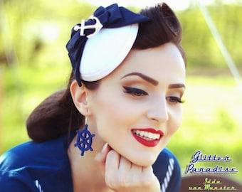Giant Anchor & Wheel - Earrings - Hello Sailor - US Navy - Boat - Marine - Captain - Pinup Sailor - Nautical -  Maritime - Glitter Paradise®
