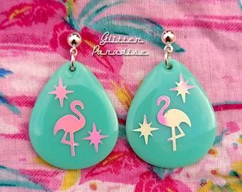 Atomic Flamingo Drop - Earrings - Mid-Century Modern - Starlite Motel - Retro Pink Flamingo Earrings - Vintage Inspired - Glitter Paradise®