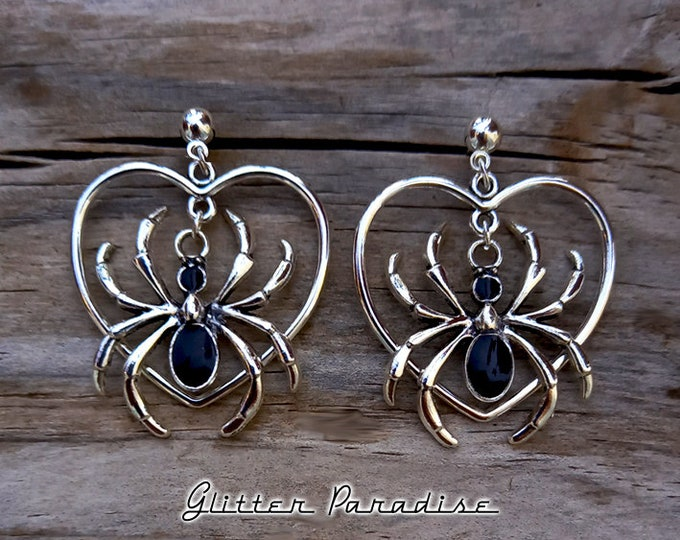 Spider Love - Earrings - Retro Halloween Jewelry - Gothic Chic - Witch Spider Earrings - Gothic Lolita - Ghoul Jewelry - Glitter Paradise®
