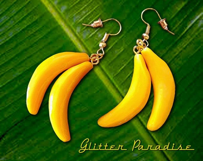 Bananas - Earrings - Fruits - Tropical - Carmen Miranda - Josephine Baker - Vintage Exotica - Tutti Frutti - 50s - Retro - Glitter Paradise®