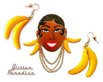 Josephine - Vintage Replica - Brooch - Jo Baker - Black Venus - Charleston - Burlesque Queen - Banana Jewelry - Glitter Paradise®