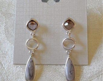 Silver Tone Swirl Enamel Post Dangle Earrings