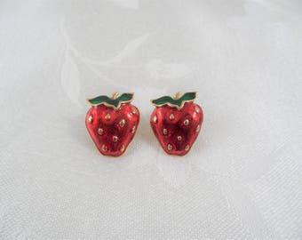 Vintage Gold Tone Glazed Enameled Strawberries Post Earrings