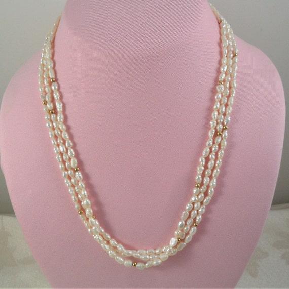 Vintage Multi Strand 14K Rice Pearl Necklace