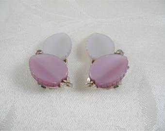 Lisner White/Purple Leaf Clip On Earrings