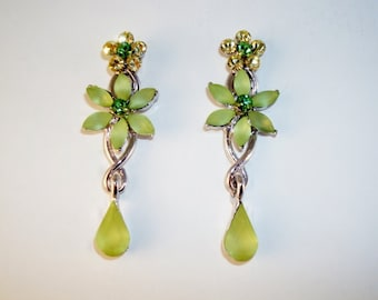 Beautiful Green Crystal Floral Dangle Earrings