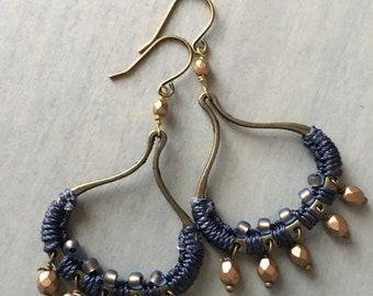 Woven bubble drop earrings -navy /gold