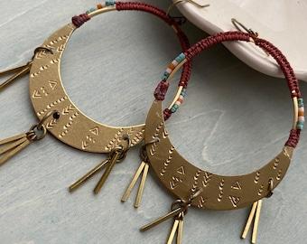Fierce women earrings/ rust