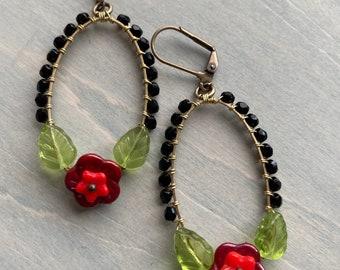 Frida Garden earrings/black