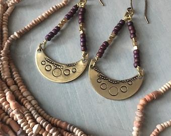 Moon phases earrings /plum