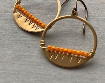 Sunset earrings/striped orange & red.