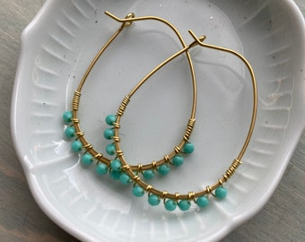 Perfect size hoops -turquoise