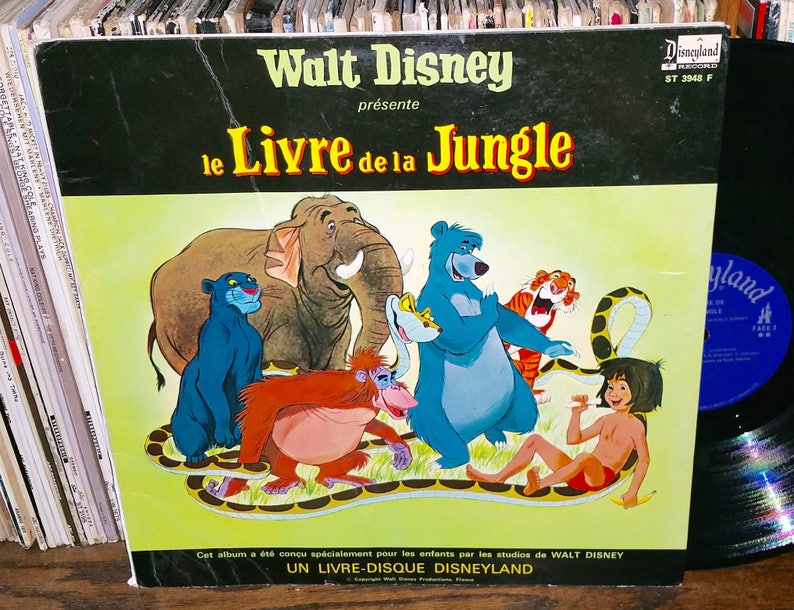 Walt Disney Le Livre De La Jungle Vintage Vinyl French Soundtrack Record Book Rare