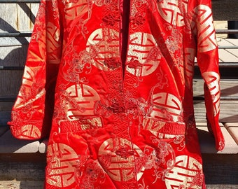 Vintage LUCKY Red Satin Chinese Jacket Size Ladies Medium