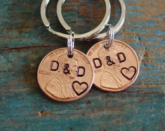 Couples Gift,Penny Keychains Set of 2,Year of Choice,Copper Anniversary,Personalized Keychains,7th Anniversary Gift, Husband Gift, Wife Gift