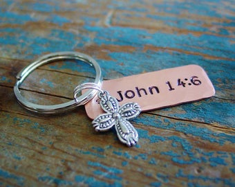 Bible Verse Keychain, Cross Key Chain, Scripture Keychain, Religious Gifts, Christian Gift, Hand Stamped, Copper Keychain, Personalized Gift