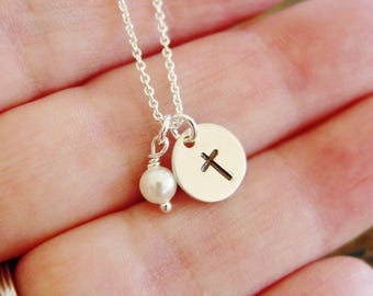 Cross Pearl Necklace, Sterling Silver, Hand Stamped Jewelry, Faith Jewelry, First Communion Gift, Confirmation Gifts for Girls, Baptism Gift