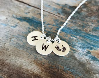 Personalized Mom Jewelry, Baby Feet Necklace, Children Initials, Hand Stamped, Initial Necklace, Mommy Necklace, Sterling Silver, Mom Gift