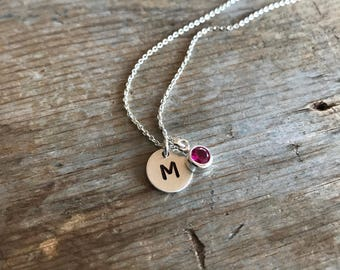 Personalized Birthstone Necklace, Sterling Silver Initial Necklace, Single Monogram, Hand Stamped, Mom Jewelry, Simple, Bridesmaid Jewelry