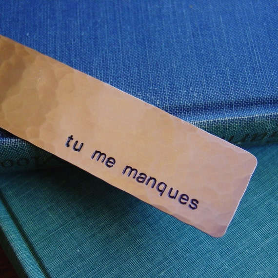 Tu Me Manques Copper Bookmark I Miss You In French Hand Etsy
