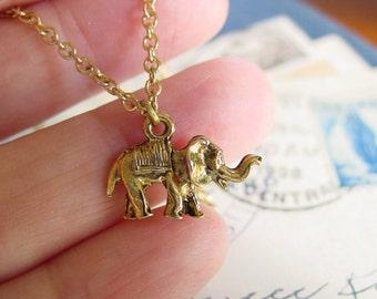 Elephant Necklace Vintage Gold Charm Friendship Luck Symbol
