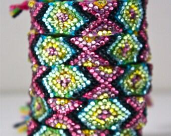 The Original Swarovski Crystal Friendship Bracelet-  Calla Lily Design (Pink, Black, Blue, Yellow & Green)