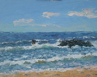 "No Off Season, acrylics on canvas panel, 9""x12"", original, plein air, signed"