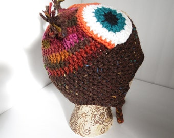Owl Hat, Little Hoot, Adult Size, Brown & Orange, Fall colored owl hat, Beanie Owl