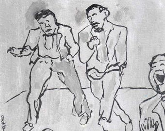 "Original, Small, Line Drawing, Gray, Men, Performers, ""The Juanita Brothers Perform At Reefer Hall"""