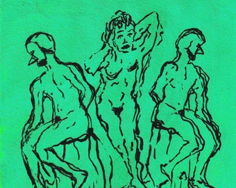 "Original, Small Line Drawing, Green, Black, Valentine's Day, Mardi Gras,  ""Lonnie And Her Sugarhorns"""